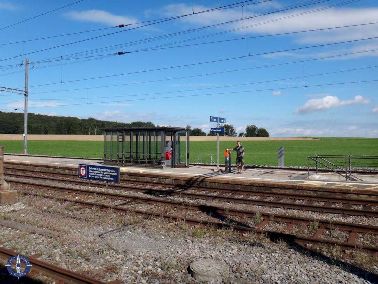 Train platform in Chenens, Switzerland
