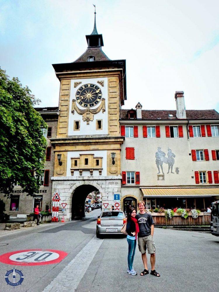 Medieval city walls of Old Town Murten in Switzerland