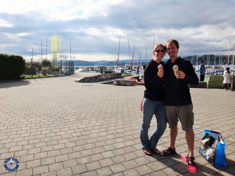 Enjoying ice cream at Lake Murten in Switzerland