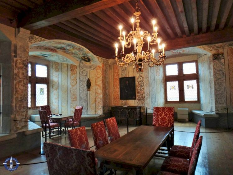 Dining room of Chateau de Gruyeres in Switzerland