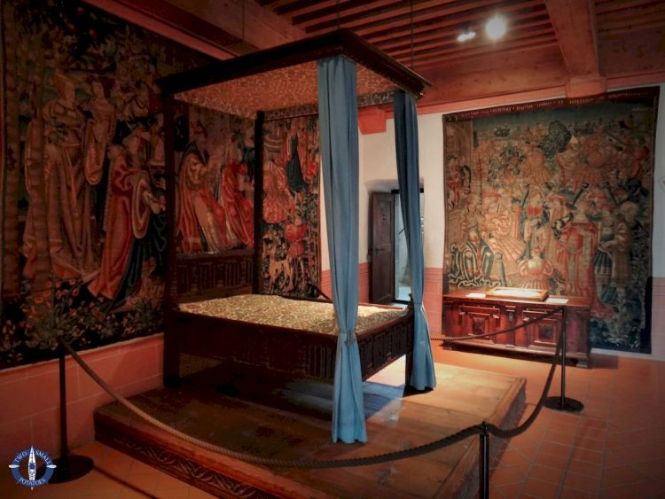Master bedroom at Castle Gruyeres, Switzerland