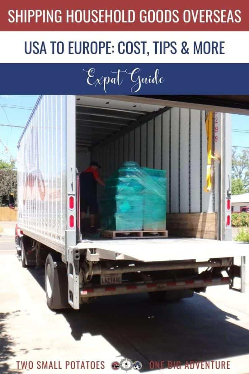 PIN, Shipping Household Goods Overseas blog post. Two Small Potatoes Travel