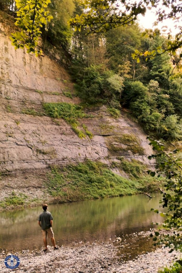 Hiking along the Sarine River near the abbey in Hauterive, Fribourg