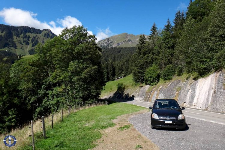 Parking area for hiking at Jaun Pass, Switzerland