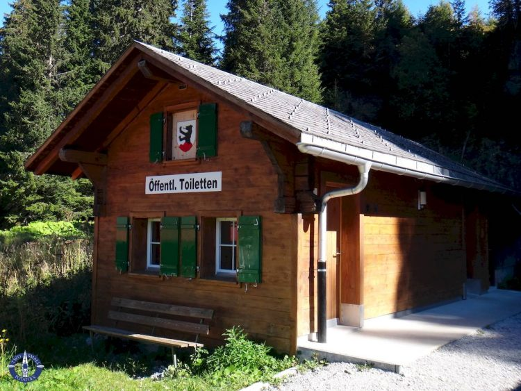 Public bathroom for hiking at Jaun Pass in Switzerland