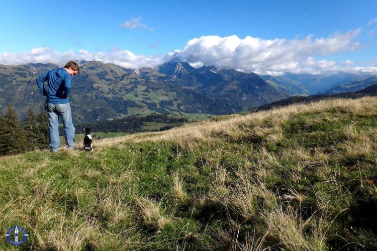 Hiking with our dog at Jaun Pass, Switzerland
