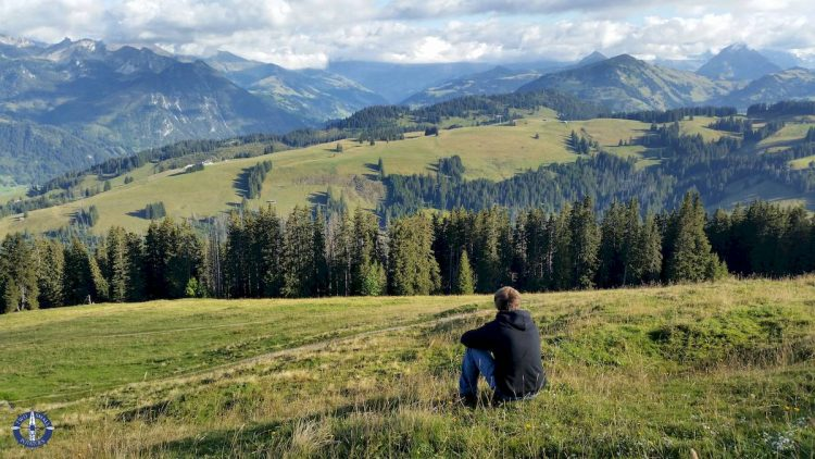 Views of the Swiss Alps from Jaun Pass hiking trail