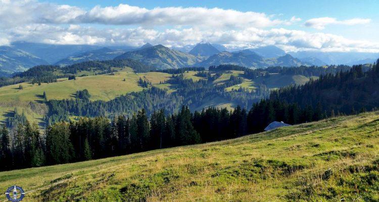 hiking at Jaun Pass in the Swiss Alps