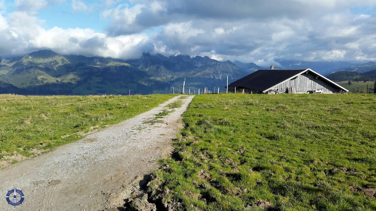 Hiking trail in Switzerland's Jaun Pass, Alps