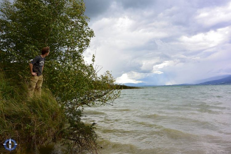 Hiking at Grande Caricaie wetlands in Switzerland during a storm