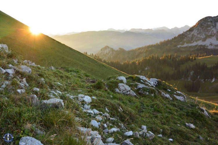 Sunrise in the Alps while hiking Schafberg Peak in Switzerland