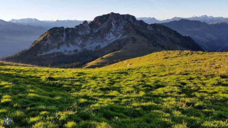 Sunrise in the Swiss Alps, hiking Schafberg Peak