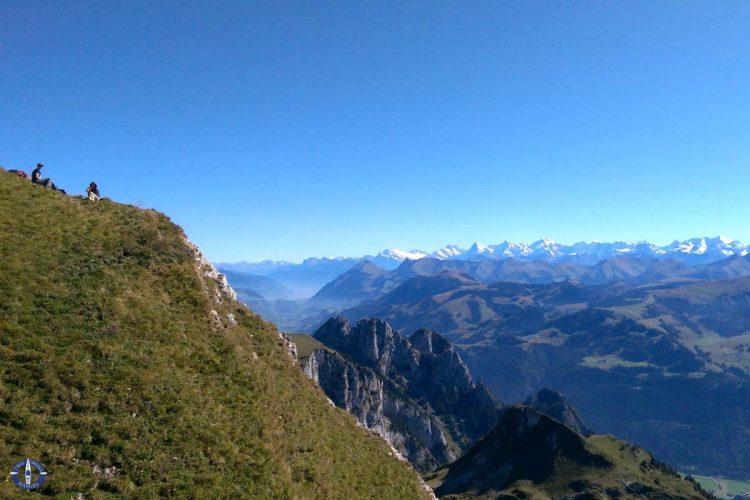 Views from Schafberg ridge in the Swiss Alps