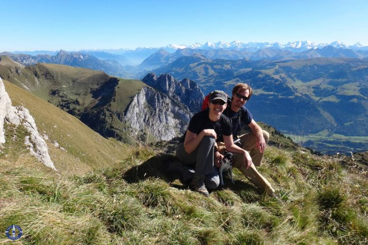 Travis, Carrie, and Touille hiking Schafberg Peak, Switzerland