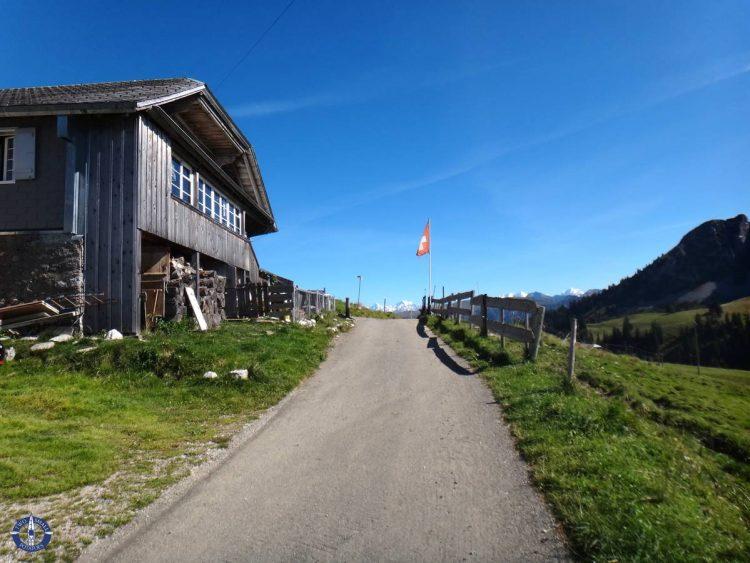 Trail head in Rohrbode for hiking Schafberg Peak, Switzerland