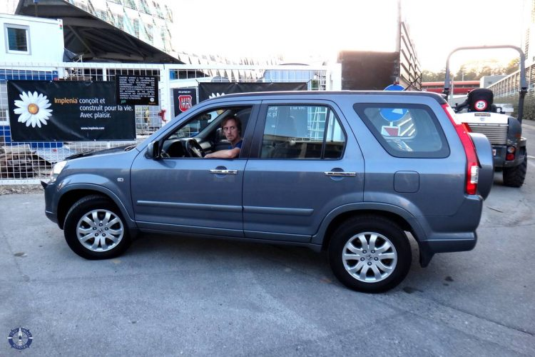 Test driving a Honda SUV in Geneva on Trav's first birthday in Switzerland