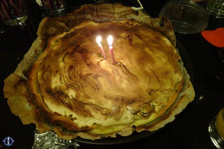 Lemon meringue pie a friend made for dinner during Trav's birthday month in Switzerland