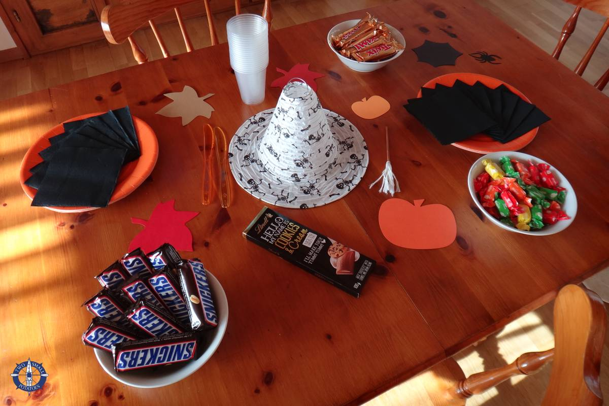 Table laid out for our first Halloween in Switzerland