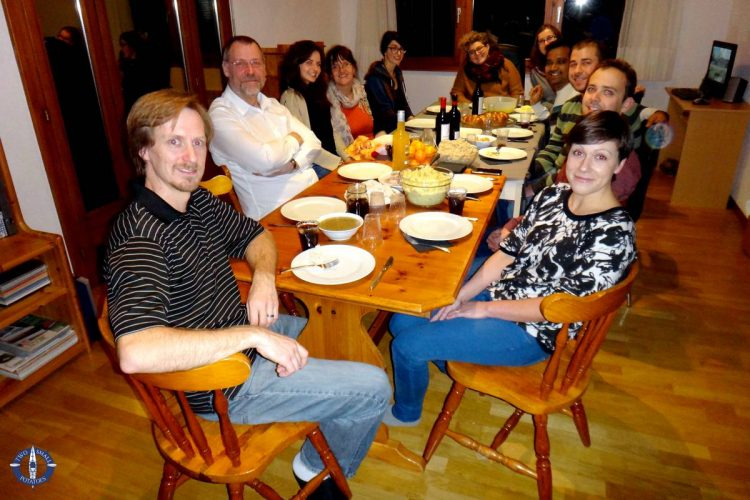Friends from seven countries at Thanksgiving in Switzerland