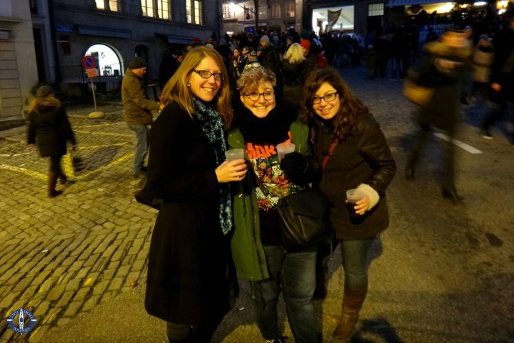 With friends at the Saint Nicholas Day parade in Fribourg, Switzerland