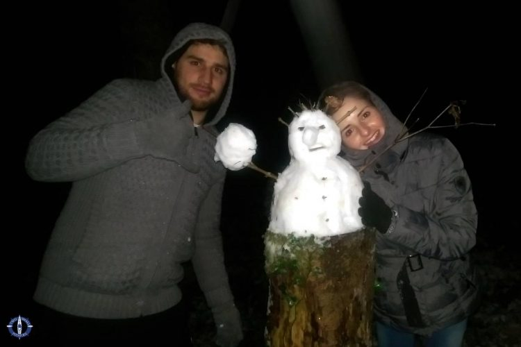 Friends with the Swiss snowman they built