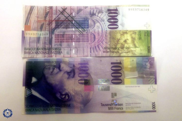 1000 Swiss franc bills for buying a car in Switzerland