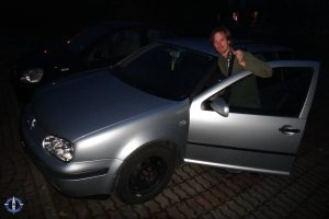 Travis with our new VW Golf in Switzerland