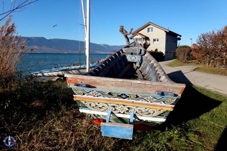 Dragon boat on the shore of Lake Neuchatel in Switzerland