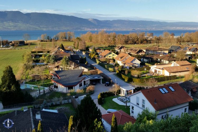 View of Lake Neuchatel from Chenaux Castle in Switzerland