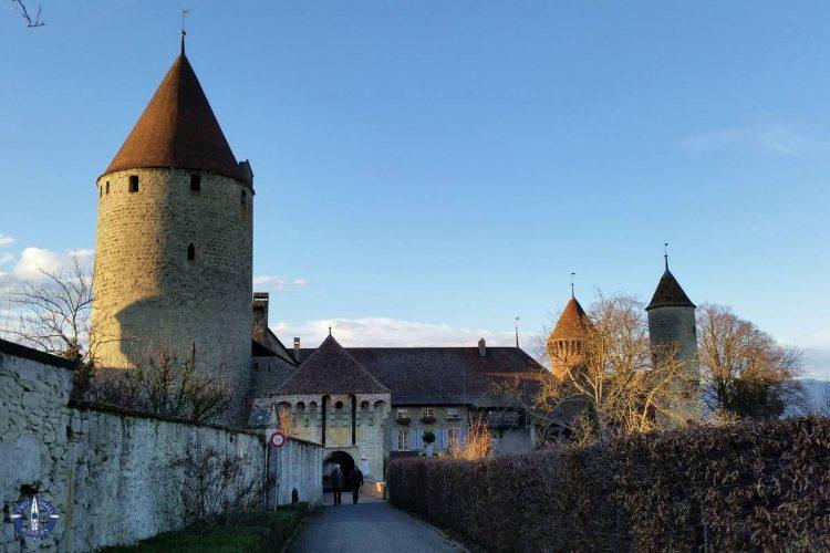 Main entrance to the Chateau de Chenaux on Lake Neuchatel, Switzerland