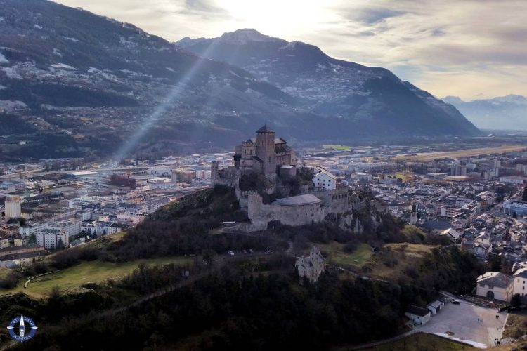 Valere Castle from Tourbillon Castle in Switzerland
