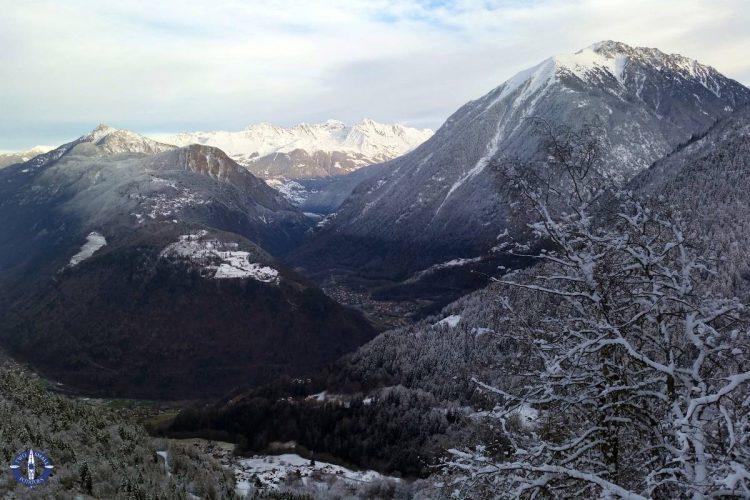 Valais, Switzerland in winter from a high alpine road