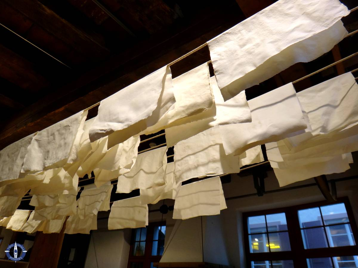 Paper drying at the Basel Paper Mill Museum, Switzerland