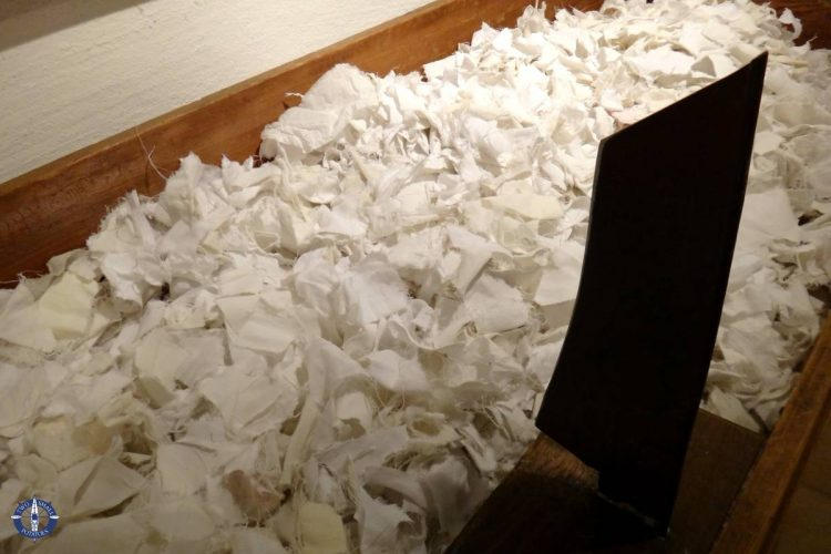 Cotton cloth chopped for making paper at the Basel Paper Mill in Switzerland