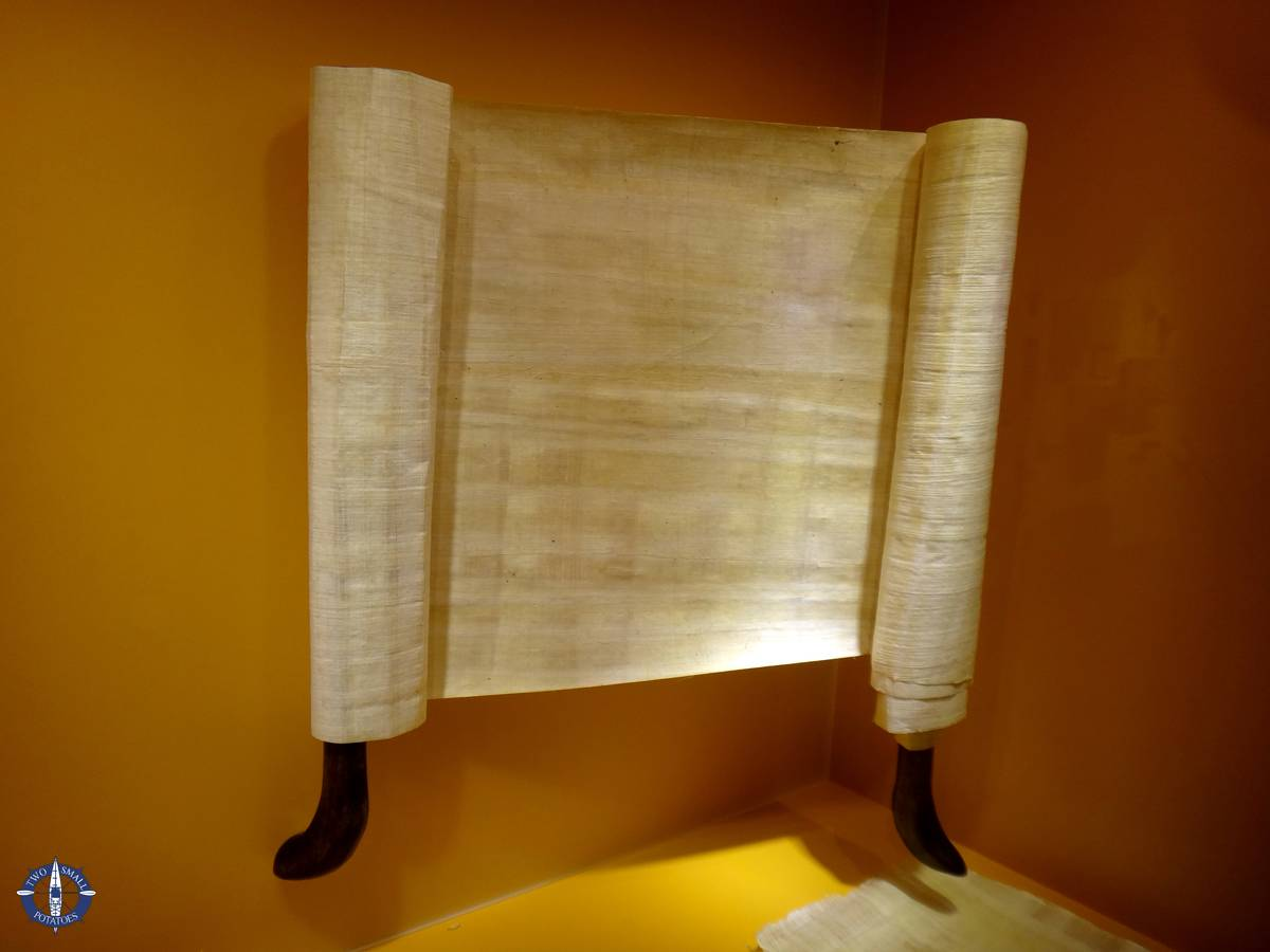 Papyrus scroll on display at the paper museum in Basel