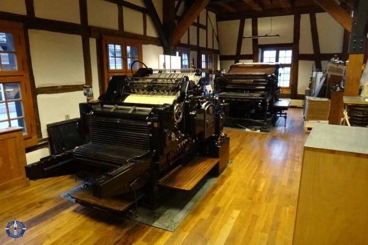 Historic printing presses at Basel's paper mill museum