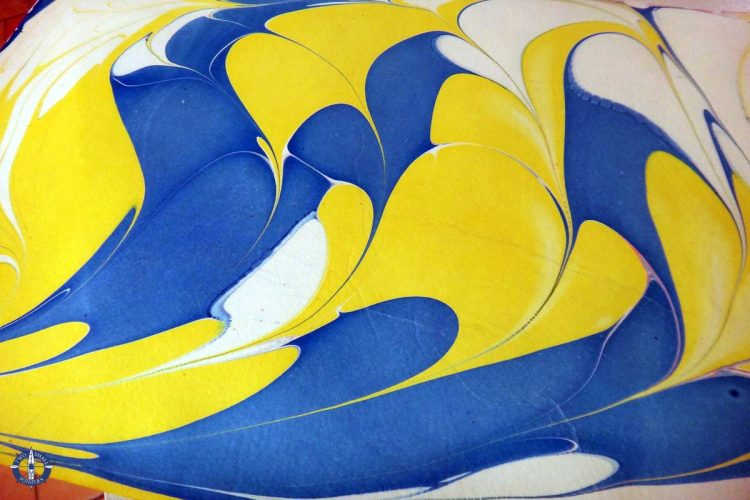 Yellow and blue paper I dyed at the Basel Paper Mill Museum, Switzerland