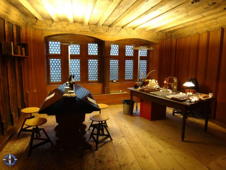 One of the rooms at the paper mill museum in Basel, Switzerland