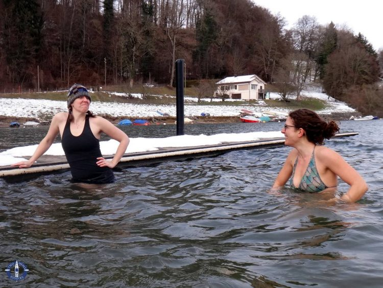 Doing the polar plunge in Switzerland in February