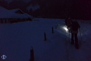 night snowshoeing at Schwarzsee