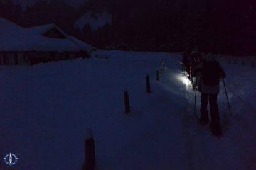 Night snowshoeing at Schwarzsee in Switzerland