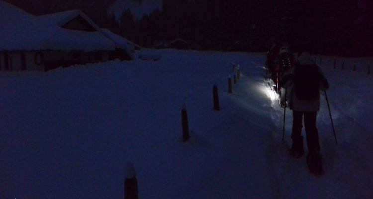 Night snowshoeing at Schwarzsee in Switzerland