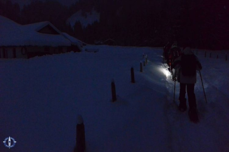 Trailhead for our snowshoeing trip near Fribourg, Switzerland