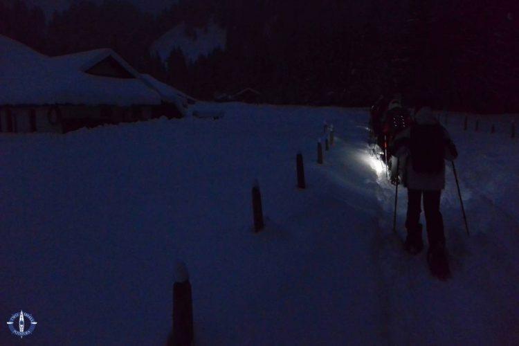 Trailhead for our moonlight snowshoeing trek near Schwarzsee, Switzerland