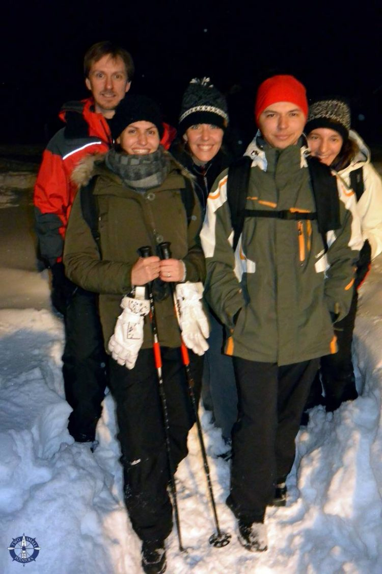 Our group of friends snowshoeing in Switzerland