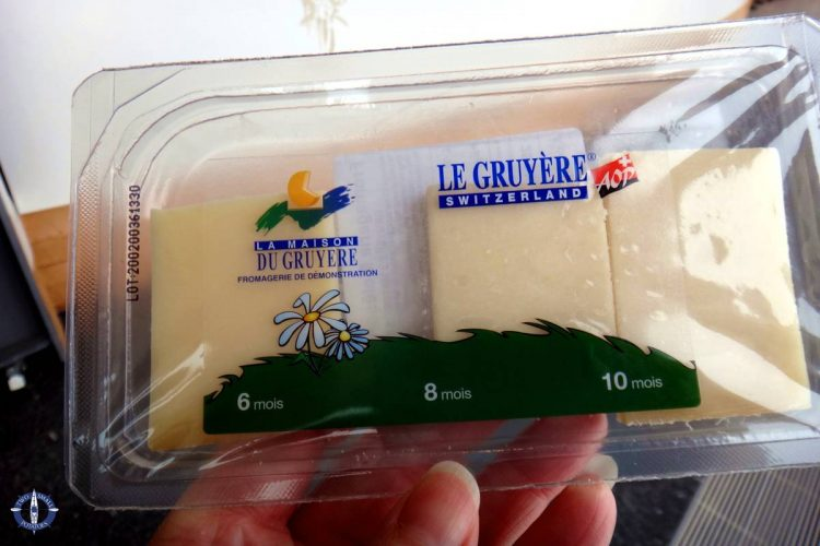 Samples of Gruyere cheese from the factory tour