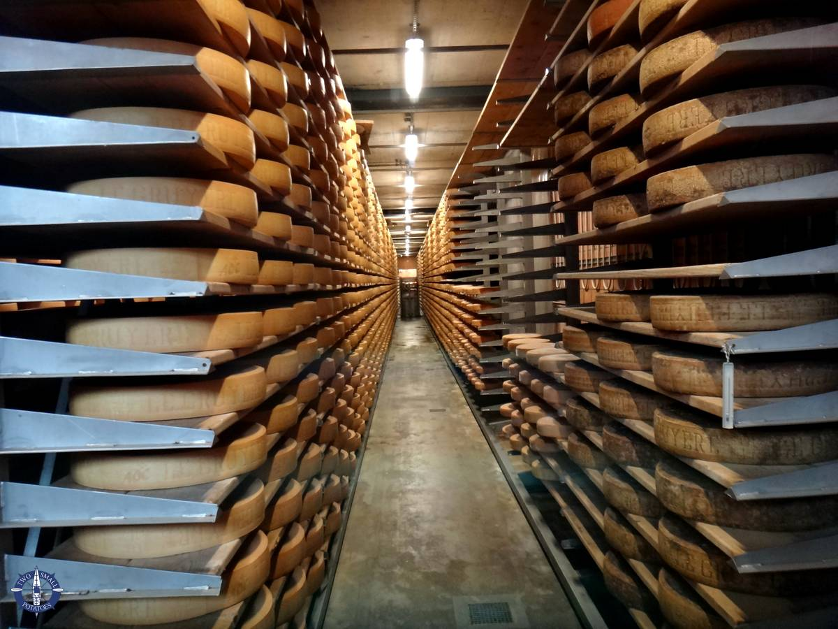 Wheels of cheese at Gruyere cheese factory in Swtizerland
