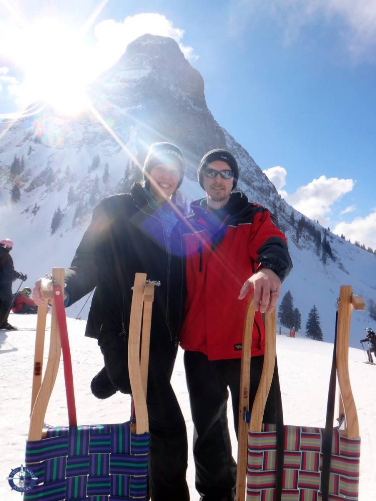 Travis and Carrie, Two Small Potatoes sledding in Switzerland at Moleson mountain