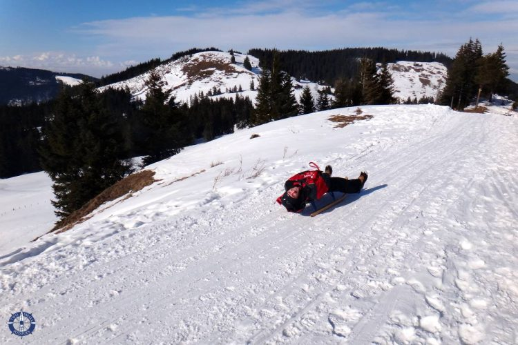 Travis zooming down the slope at Moleson