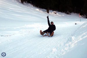Friend on his sled at Moleson
